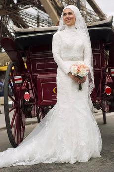 Vinobraní Vysoká krk Moře dívka Přirozeného pasu Svatební šaty