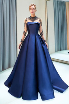 Dlouhý Vysoký límec Hruška Dlouhý rukáv Elegantní Promové šaty