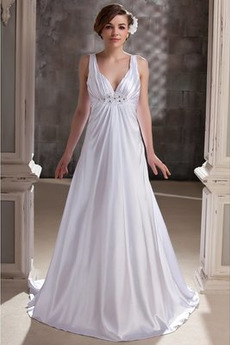 Říše Elegantní Skládaný živůtek Říše pasu V-krk Svatební šaty