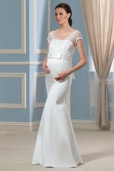 Říše Satén Říše pasu Elegantní Zahrada Iluze Délka podlahy Svatební šaty