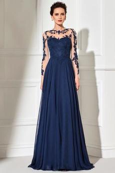 Přírodní pas Krajkou Overlay A-Čára Iluze Elegantní Večerní šaty