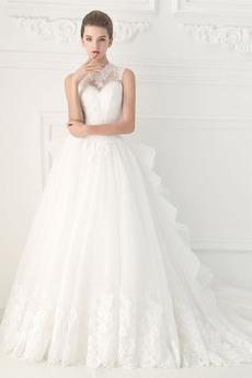 Klenot Formální Dlouho Zašněrovat boty Podzim A-Čára Svatební šaty