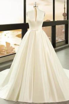 Plus Velikost Zip nahoru Luk Pláž Elegantní V-krk Svatební šaty