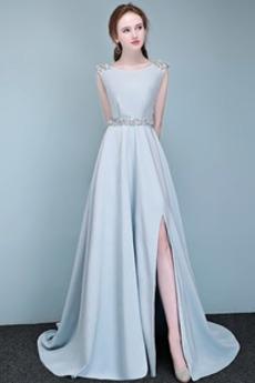 Satén Bez rukávů Bateau hostina Elegantní Zip nahoru Promové šaty