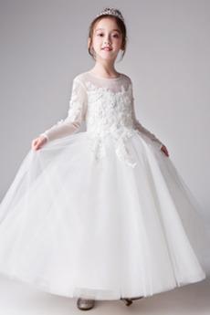 Tyl Kotníky Formální Šperk A-Čára Nášivky Svatba Květinové šaty