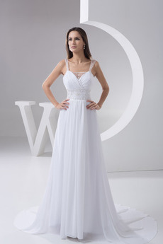 Říše Plisovaný Bez rukávů Korálkový pás Romantický Svatební šaty