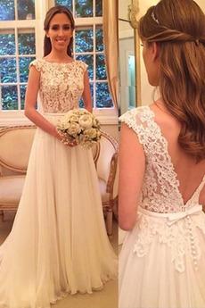 Prohlédnout Jednoduchý Krátký rukáv Zametání vlečka Svatební šaty