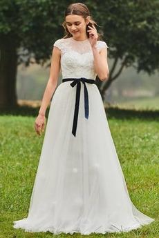 Krátký rukáv Šerpa Přírodní pas obdélník A-Čára Svatební šaty