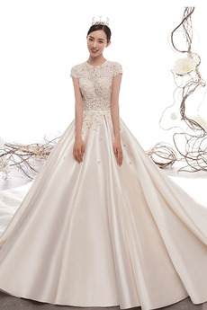 Dlouho Drahokam Luxusní Zip nahoru Satén Sál A-Čára Svatební šaty
