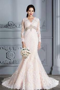 Mořská panna Přirozeného pasu Iluze Dlouhý Dlouhý rukáv Svatební šaty