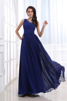 Kotníky Elegantní Přikrýt Šifón Půlnoční modř Bez rukávů Večerní šaty