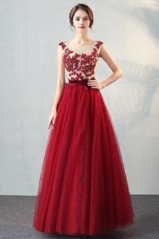 Bateau Elegantní Klíčová dírka zpět Přirozeného pasu Promové šaty
