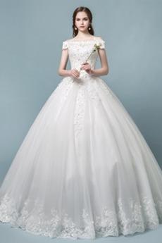 Elegantní Rovné rameno Přírodní pas Střední Zašněrovat boty Svatební šaty