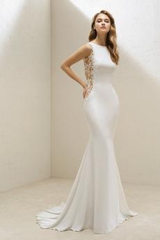 Bateau Přikrýt Přirozeného pasu Těsné Délka patra Svatební šaty