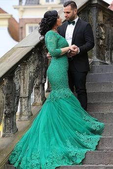 Elegantní Zašněrovat boty Zamést vlak Dlouhé rukávy Společenské šaty