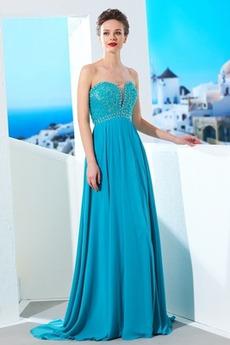 Dlouhá Bez rukávů Lištování Říše Miláček Elegantní Večerní šaty