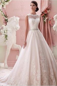 Bez rukávů Vysoká krytina Okouzlující Plisovaný Svatební šaty