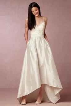 Asymetrické Přikrýt V-krk Přírodní pas Taft Neformální Svatební šaty