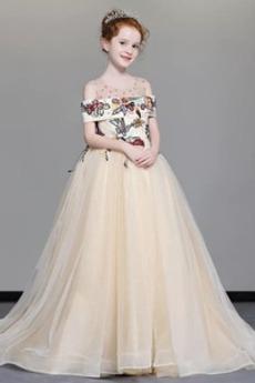 Délka podlahy Zimní Víčko Rosný rameno Vícevrstvý Květinové dívky šaty