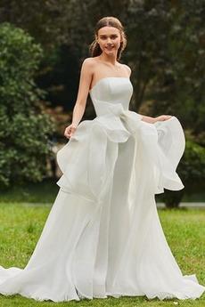 Bez ramínek Drobounký Bez rukávů Šik Přírodní pas Svatební šaty