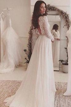 Dlouhý rukáv Přikrýt Zahrada Elegantní Krajkou Overlay Svatební šaty