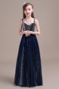 Zip nahoru Hvězdné Přírodní pas A-Čára Délka podlahy Květinové dívky šaty