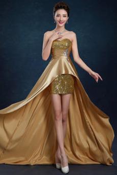 Elastický satén Asymetrické Bez ramínek Přirozeného pasu Společenské šaty