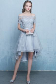 Podzim Asymetrické Přírodní pas Elegantní Bateau Koktejlové šaty