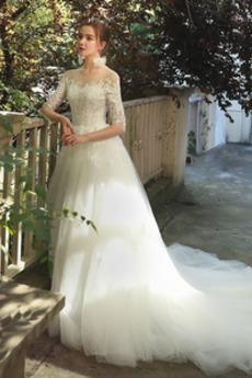 Iluze Zašněrovat boty Klenot Elegantní A-Čára Polovina rukáv Svatební šaty