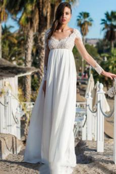 Bezzadu Dlouhé rukávy Délka patra Pláž V-krk Krajkou Overlay Svatební šaty