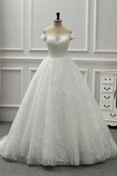 Bezzadu Přesýpací hodiny Víčko Výšivka Rosný rameno Svatební šaty