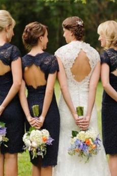 Krátký rukáv Kolena délka Plášť Svatba Drahokam Družička Šaty