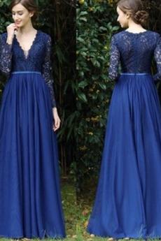 Krajkou Overlay Přirozeného pasu Elegantní Zip A-Čára Večerní šaty