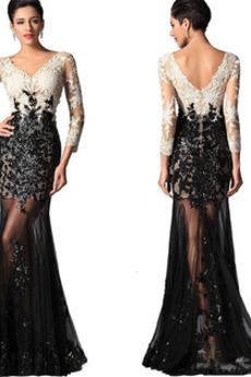 Tři čtvrtiny rukávy Zip nahoru Sexy Střední Krajkou Overlay Promové šaty