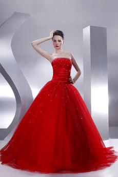Bez ramínek Zimní Klesl pas Princezna Délka patra Promové šaty