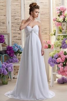 Bezzadu Říše pasu Jednoduchý Zamést vlak Skládaný živůtek Svatební šaty