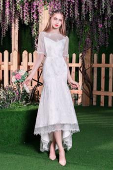 Zahrada Bateau Čaj délka Krajka Krajkou Overlay Svatební šaty