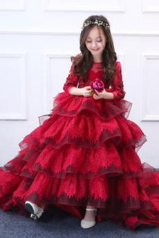 Tyl Formální Kaskádové Vroubkovaným Přírodní pas Květ dívka šaty