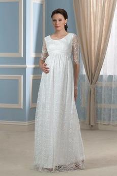 Plus Velikost Pláž Vysoký pasu Iluze Lopatka Říše Svatební šaty