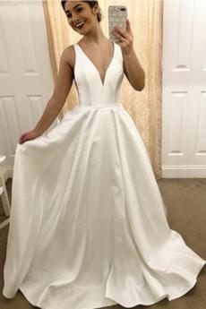 A-Čára Bezzadu Bez rukávů Přikrýt Dlouhý Přírodní pas Svatební šaty