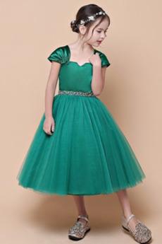Čaj délka Luk Krátké rukávy Korálkový pás Květinové dívky šaty