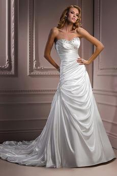 Romantický A-Čára Kostelní vlečka Skládaný živůtek Svatební šaty