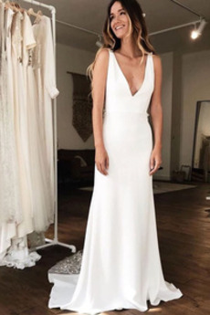 Bezzadu Jaro Hluboký výstřih do V Pláž Bez rukávů Svatební šaty