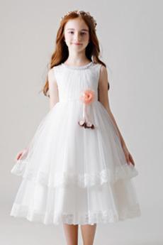 Střední Bez rukávů Výkon Formální Klenot Květiny Květinové šaty