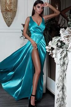 Střední Elastický satén Stehna vysoká štěrbina Společenské šaty