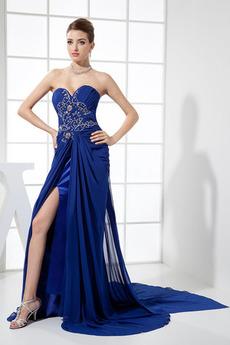 Bez rukávů A-Čára Přirozeného pasu Šik S hlubokým výstřihem Promové šaty