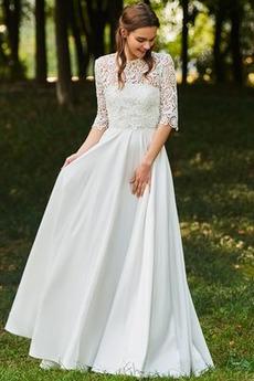 Krajkou Overlay Iluze Pláž Elegantní Polovina rukáv Svatební šaty