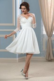 Střední Kolena délka A-Čára Šifón Dlouhé rukávy Svatební šaty