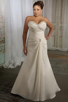 Plus Velikost Podzim Střední záda Neformální Satén Svatební šaty