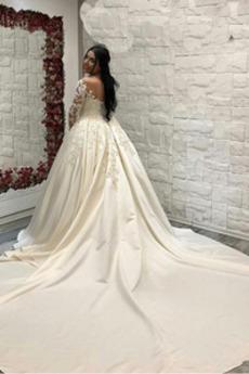 Dlouhý rukáv Sál A-Čára Formální Krajka Plus Velikost Svatební šaty